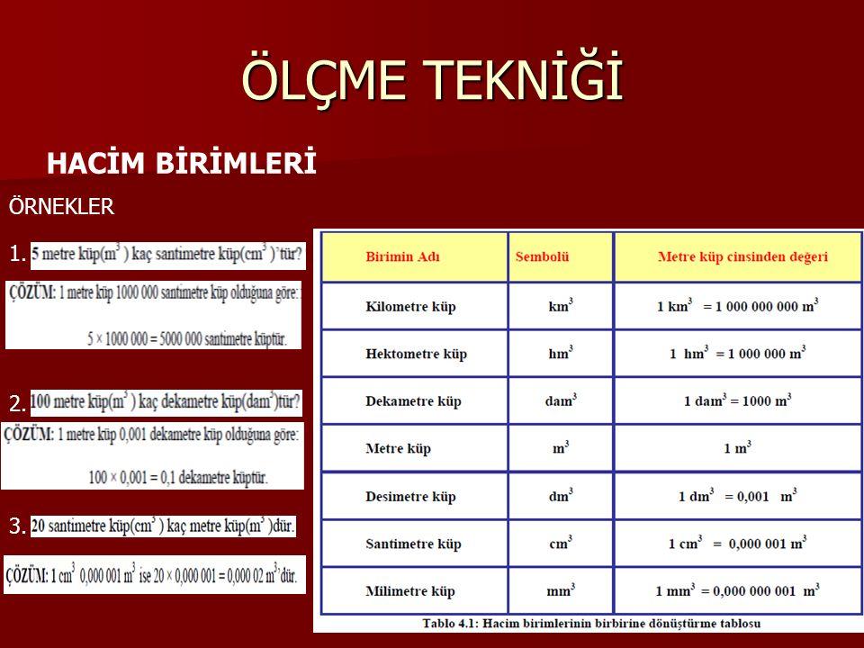 ÖLÇME TEKNİĞİ HACİM BİRİMLERİ ÖRNEKLER 1. 2. 3.