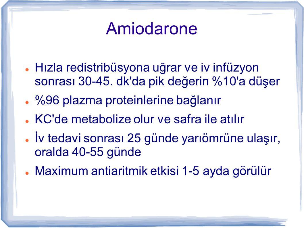 Amiodarone Hızla redistribüsyona uğrar ve iv infüzyon sonrası 30-45. dk'da pik değerin %10'a düşer %96 plazma proteinlerine bağlanır KC'de metabolize