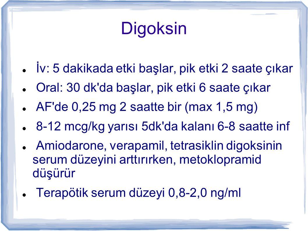 Digoksin İv: 5 dakikada etki başlar, pik etki 2 saate çıkar Oral: 30 dk'da başlar, pik etki 6 saate çıkar AF'de 0,25 mg 2 saatte bir (max 1,5 mg) 8-12