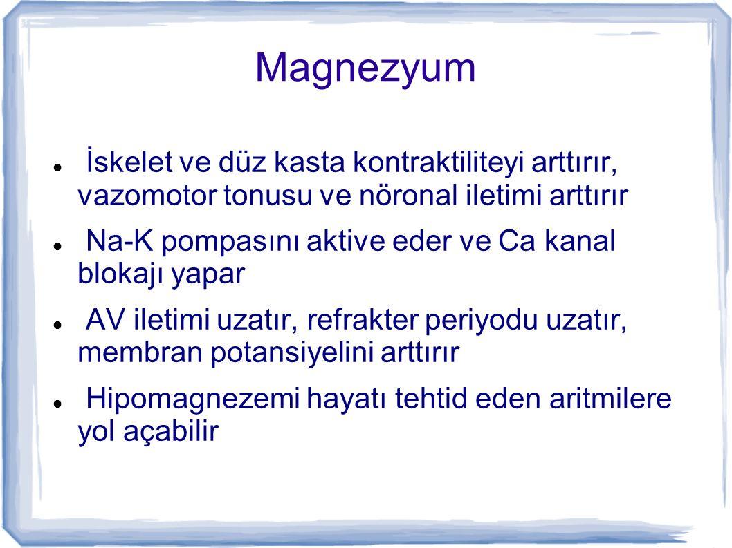 Magnezyum İskelet ve düz kasta kontraktiliteyi arttırır, vazomotor tonusu ve nöronal iletimi arttırır Na-K pompasını aktive eder ve Ca kanal blokajı y