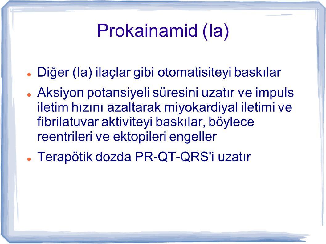 Prokainamid Ventriküler aritmilerin tedavisinde ve tekrarını önlemek için kullanılır Stabil VT, LV fonksiyonları korunmuş geniş komplex taşikardilerde kullanılır Atriyal fibrilasyon-flutter, WPW+AF/SVT yi döndürmek için de kullanılır >2.° bloklar, uzun QT, dal blokları, ciddi glikozid overdozu ve torsades de pointes te kontrendikedir