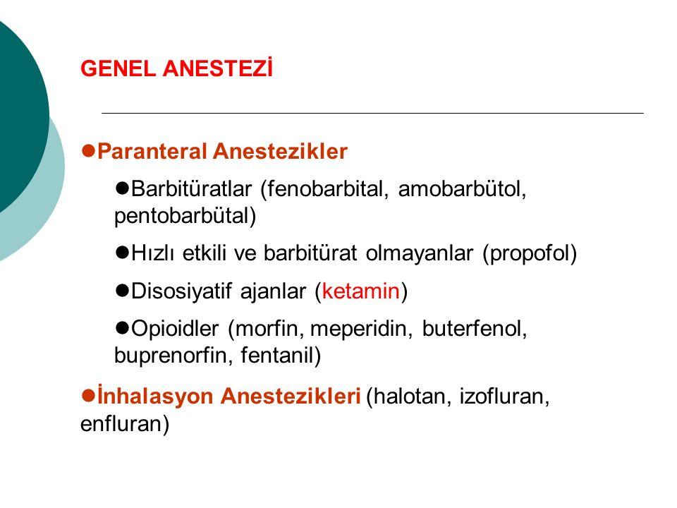 GENEL ANESTEZİ Paranteral Anestezikler Barbitüratlar (fenobarbital, amobarbütol, pentobarbütal) Hızlı etkili ve barbitürat olmayanlar (propofol) Disosiyatif ajanlar (ketamin) Opioidler (morfin, meperidin, buterfenol, buprenorfin, fentanil) İnhalasyon Anestezikleri (halotan, izofluran, enfluran)