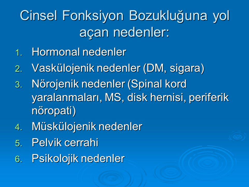Cinsel Fonksiyon Bozukluğuna yol açan nedenler: 1. Hormonal nedenler 2. Vaskülojenik nedenler (DM, sigara) 3. Nörojenik nedenler (Spinal kord yaralanm