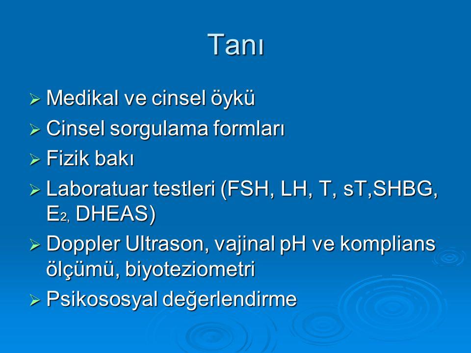 Tanı  Medikal ve cinsel öykü  Cinsel sorgulama formları  Fizik bakı  Laboratuar testleri (FSH, LH, T, sT,SHBG, E 2, DHEAS)  Doppler Ultrason, vajinal pH ve komplians ölçümü, biyoteziometri  Psikososyal değerlendirme