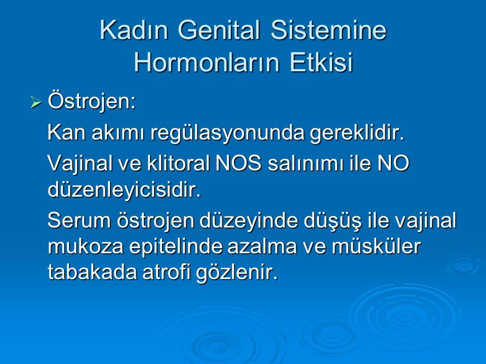 Kadın Genital Sistemine Hormonların Etkisi  Östrojen: Kan akımı regülasyonunda gereklidir. Kan akımı regülasyonunda gereklidir. Vajinal ve klitoral N