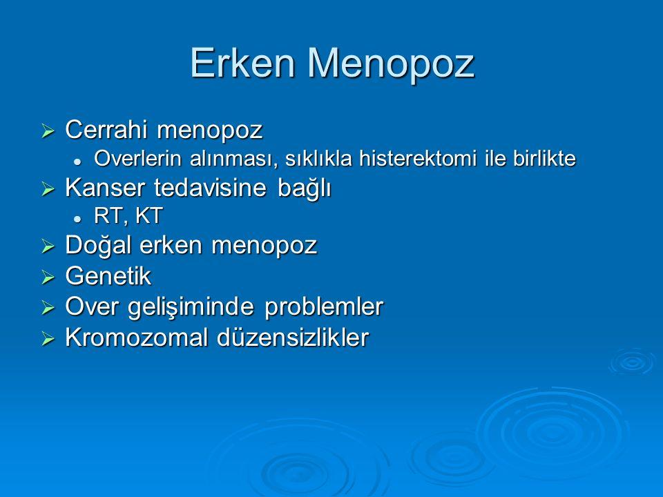 Erken Menopoz  Cerrahi menopoz Overlerin alınması, sıklıkla histerektomi ile birlikte Overlerin alınması, sıklıkla histerektomi ile birlikte  Kanser tedavisine bağlı RT, KT RT, KT  Doğal erken menopoz  Genetik  Over gelişiminde problemler  Kromozomal düzensizlikler