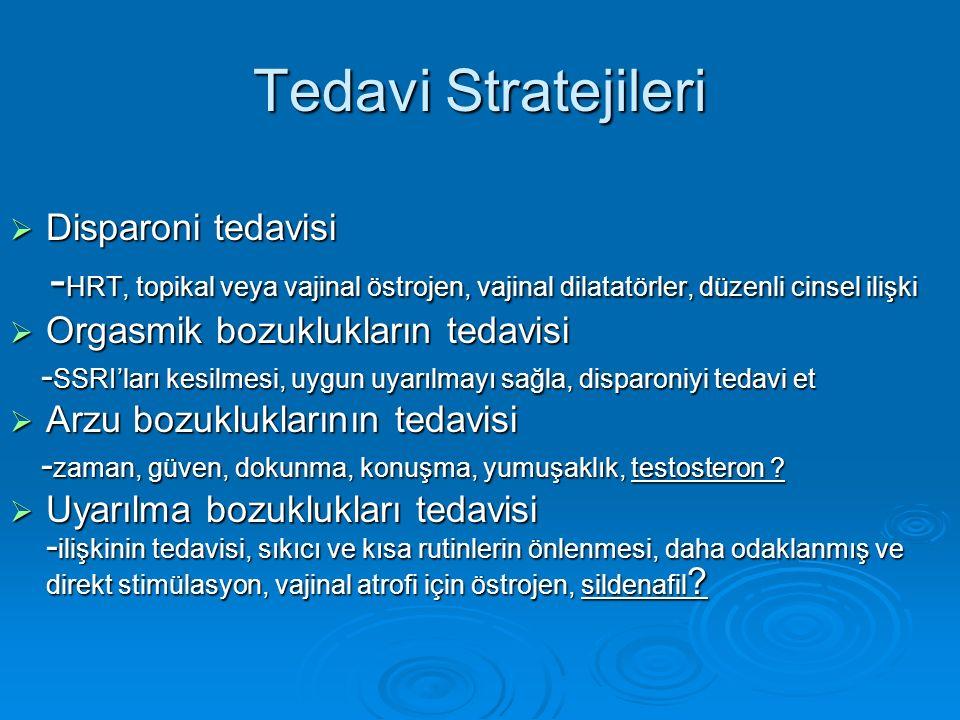 Tedavi Stratejileri  Disparoni tedavisi - HRT, topikal veya vajinal östrojen, vajinal dilatatörler, düzenli cinsel ilişki - HRT, topikal veya vajinal