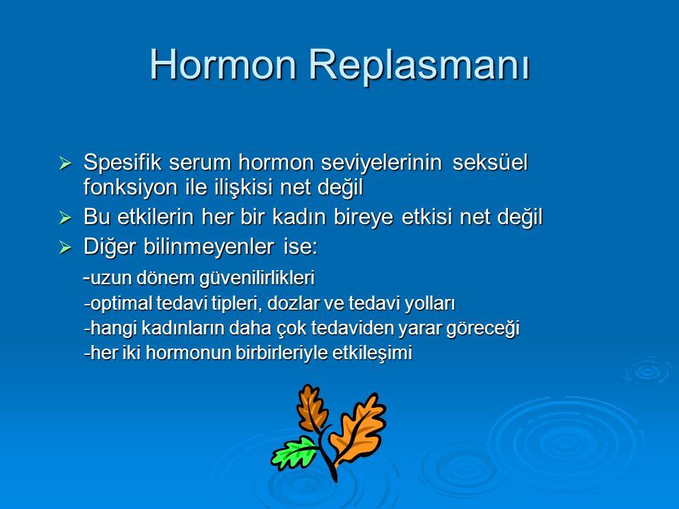 Hormon Replasmanı  Spesifik serum hormon seviyelerinin seksüel fonksiyon ile ilişkisi net değil  Bu etkilerin her bir kadın bireye etkisi net değil  Diğer bilinmeyenler ise: - uzun dönem güvenilirlikleri - uzun dönem güvenilirlikleri -optimal tedavi tipleri, dozlar ve tedavi yolları -optimal tedavi tipleri, dozlar ve tedavi yolları -hangi kadınların daha çok tedaviden yarar göreceği -hangi kadınların daha çok tedaviden yarar göreceği -her iki hormonun birbirleriyle etkileşimi -her iki hormonun birbirleriyle etkileşimi