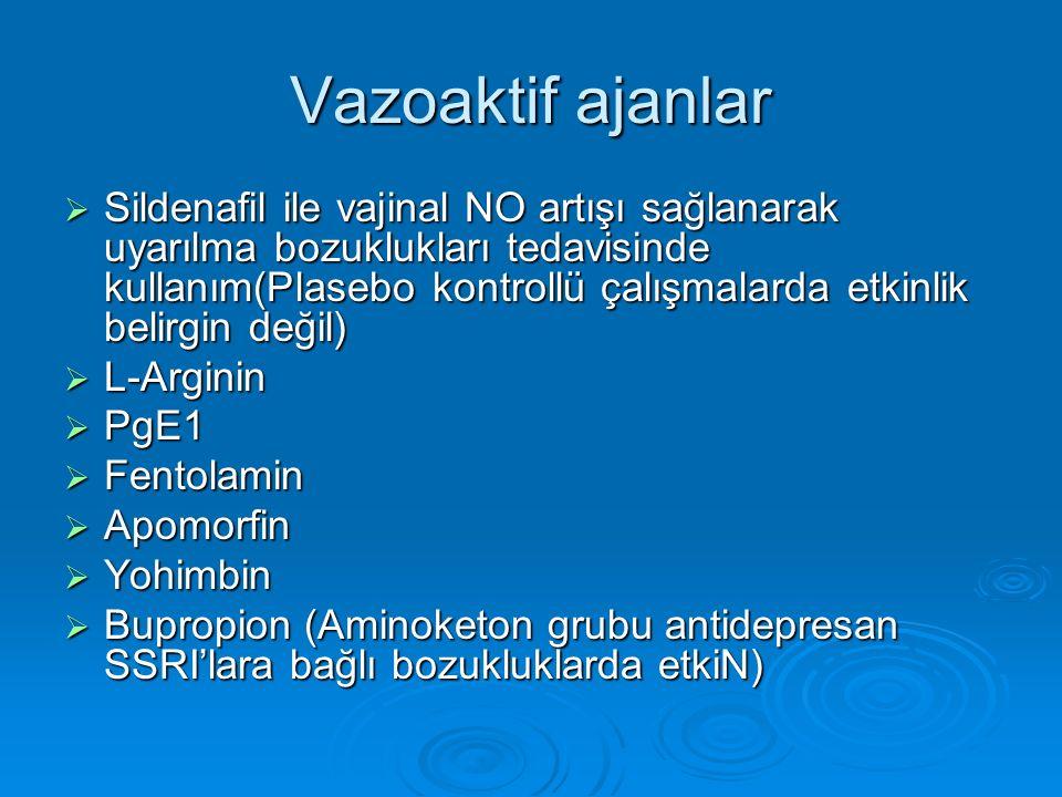Vazoaktif ajanlar  Sildenafil ile vajinal NO artışı sağlanarak uyarılma bozuklukları tedavisinde kullanım(Plasebo kontrollü çalışmalarda etkinlik belirgin değil)  L-Arginin  PgE1  Fentolamin  Apomorfin  Yohimbin  Bupropion (Aminoketon grubu antidepresan SSRI'lara bağlı bozukluklarda etkiN)