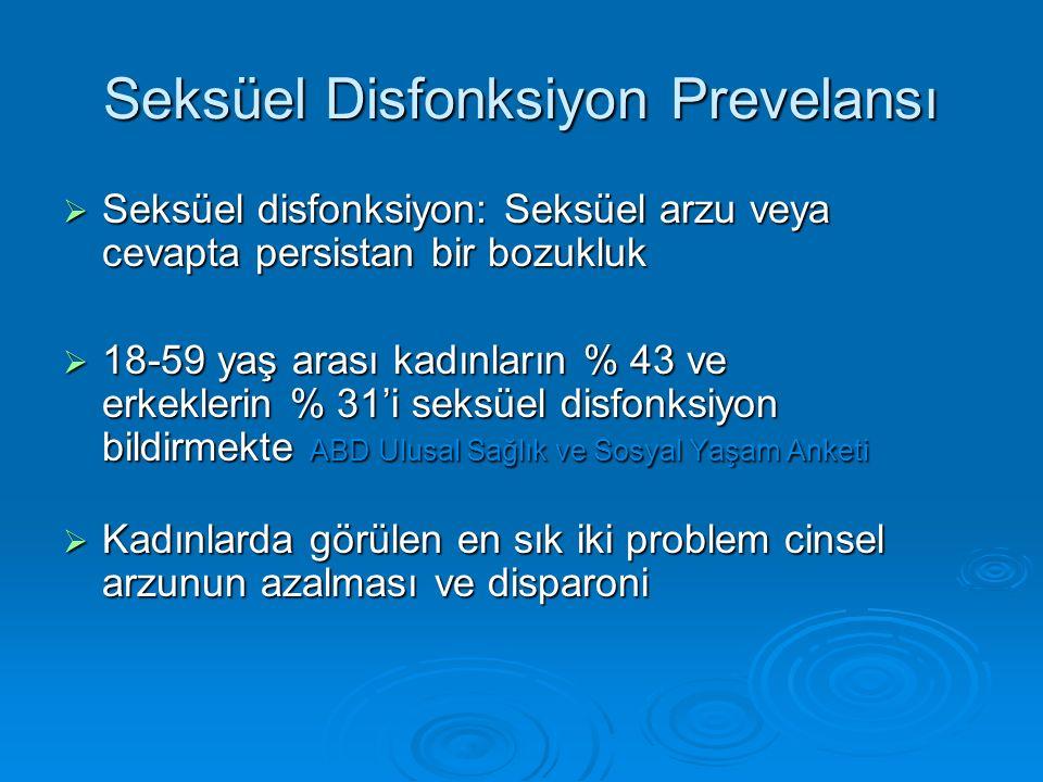 Seksüel Disfonksiyon Prevelansı  Seksüel disfonksiyon: Seksüel arzu veya cevapta persistan bir bozukluk  18-59 yaş arası kadınların % 43 ve erkeklerin % 31'i seksüel disfonksiyon bildirmekte ABD Ulusal Sağlık ve Sosyal Yaşam Anketi  Kadınlarda görülen en sık iki problem cinsel arzunun azalması ve disparoni