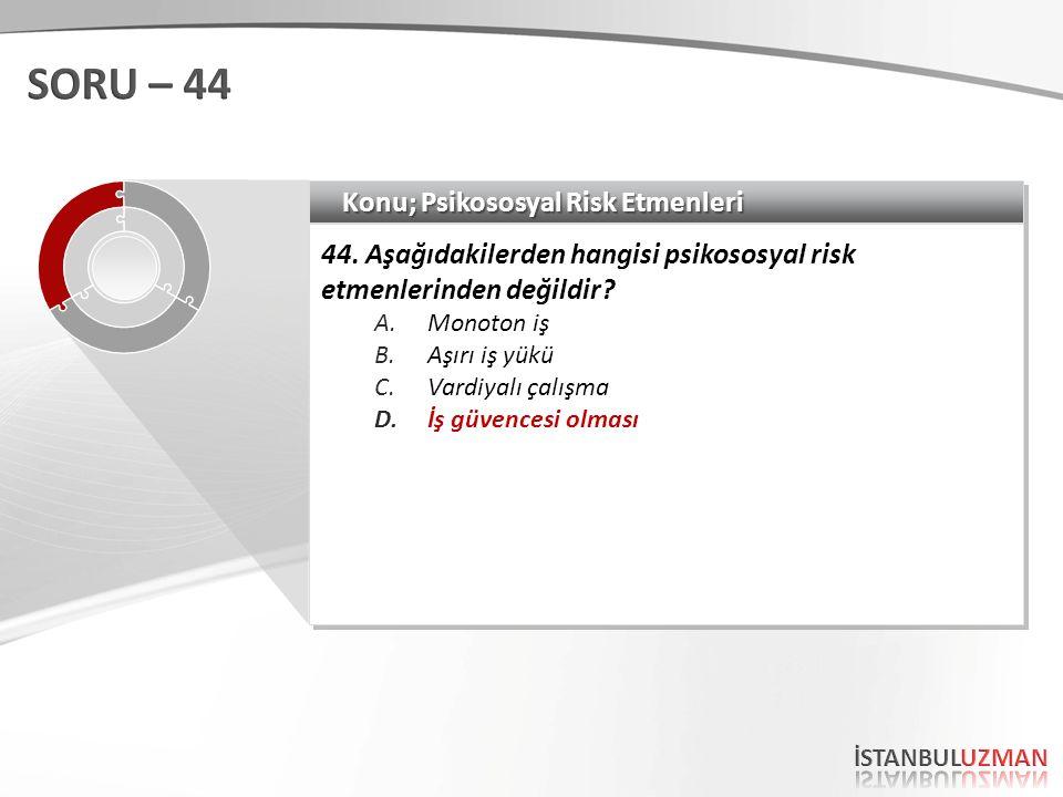 Konu; Psikososyal Risk Etmenleri 44.