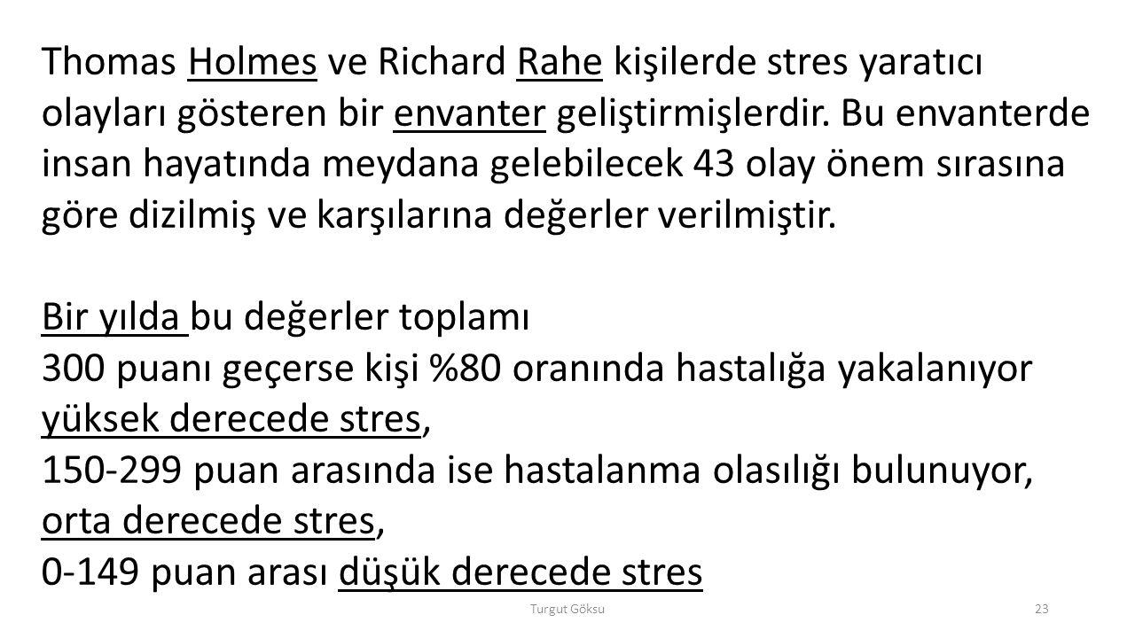 Turgut Göksu23 Thomas Holmes ve Richard Rahe kişilerde stres yaratıcı olayları gösteren bir envanter geliştirmişlerdir. Bu envanterde insan hayatında