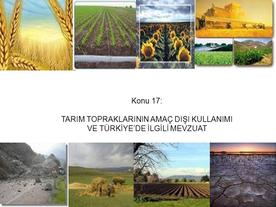 Tarım Topraklarının Kamu Alt Yapı Yatırımları Yaratılarak Amaç Dışı Kullanımı Kamu altyapı yatırımları, tarım topraklarının kaybı sürecini kolaylaştıran ve hızlandıran faktörlerin en önemlisi olmaktadır.