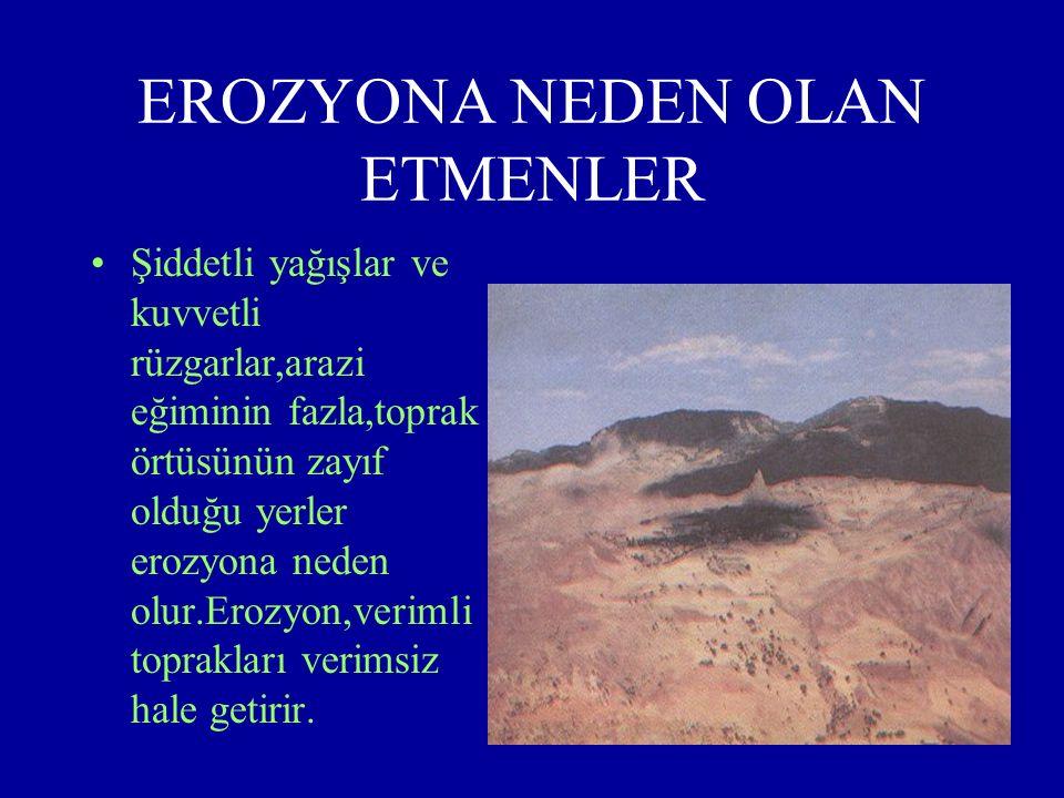 EROZYON Erozyon, toprağın tarım yapılan üst tabakasını, su veya rüzgarın etkisiyle aşınıp taşınmasıdır.