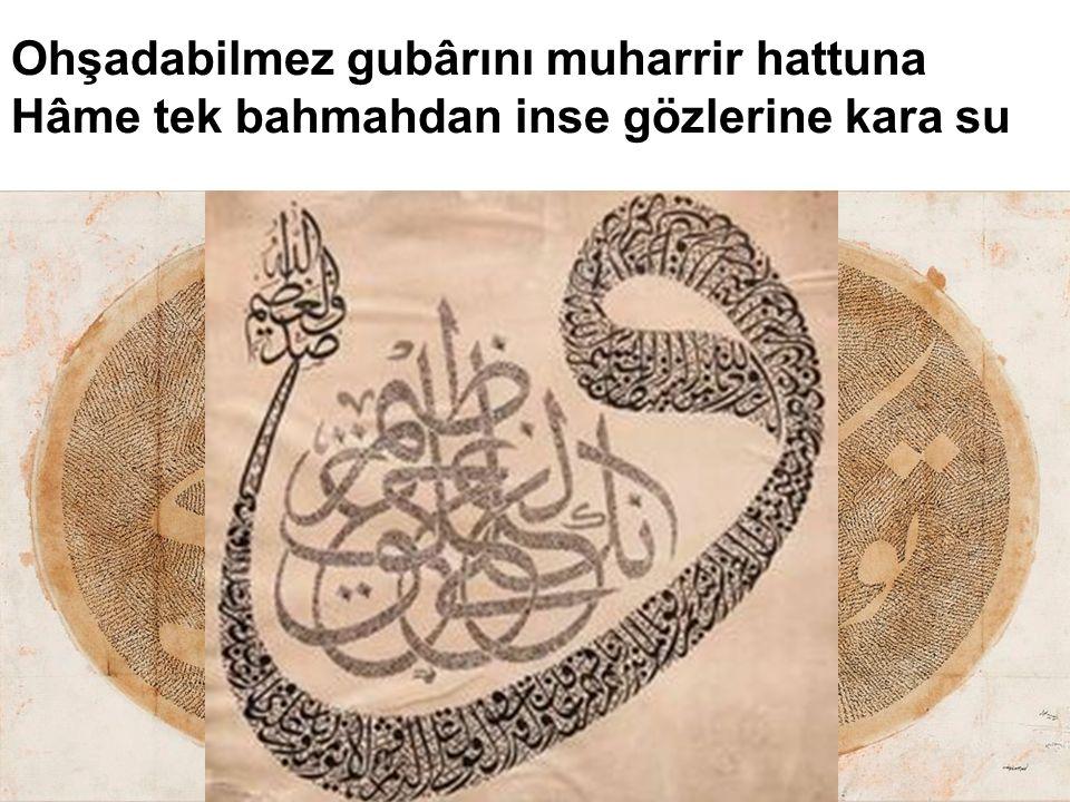 Ohşadabilmez gubârını muharrir hattuna Hâme tek bahmahdan inse gözlerine kara su Teşbih: Yüzdeki tüylerle gubâri hat arasında.