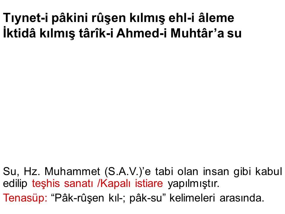 Tıynet-i pâkini rûşen kılmış ehl-i âleme İktidâ kılmış târîk-i Ahmed-i Muhtâr'a su Su, Hz. Muhammet (S.A.V.)'e tabi olan insan gibi kabul edilip teşhi