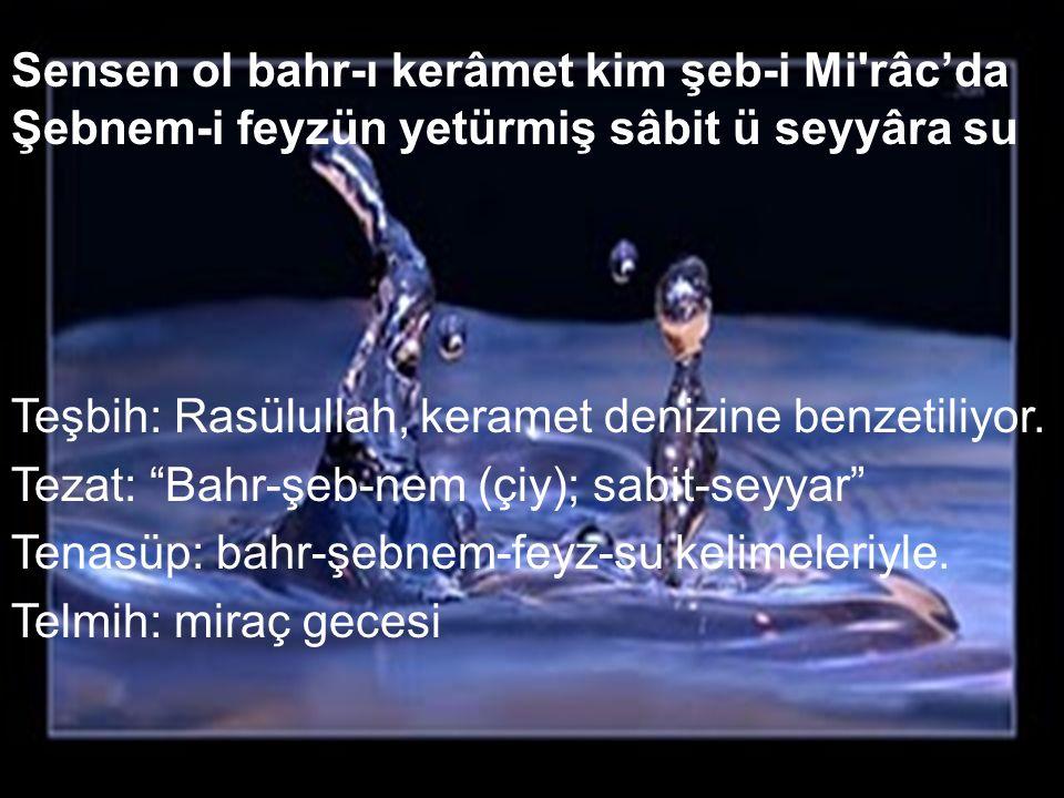 """Sensen ol bahr-ı kerâmet kim şeb-i Mi'râc'da Şebnem-i feyzün yetürmiş sâbit ü seyyâra su Teşbih: Rasülullah, keramet denizine benzetiliyor. Tezat: """"Ba"""