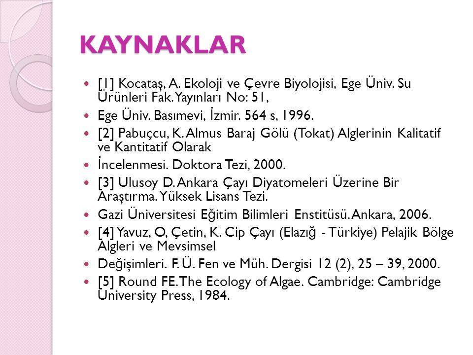 KAYNAKLAR KAYNAKLAR [1] Kocataş, A. Ekoloji ve Çevre Biyolojisi, Ege Üniv. Su Ürünleri Fak. Yayınları No: 51, Ege Üniv. Basımevi, İ zmir. 564 s, 1996.