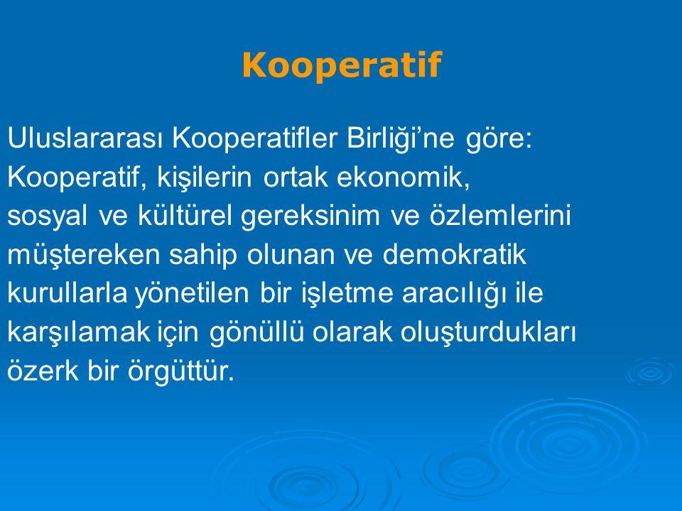 Kooperatif Uluslararası Kooperatifler Birliği'ne göre: Kooperatif, kişilerin ortak ekonomik, sosyal ve kültürel gereksinim ve özlemlerini müştereken sahip olunan ve demokratik kurullarla yönetilen bir işletme aracılığı ile karşılamak için gönüllü olarak oluşturdukları özerk bir örgüttür.
