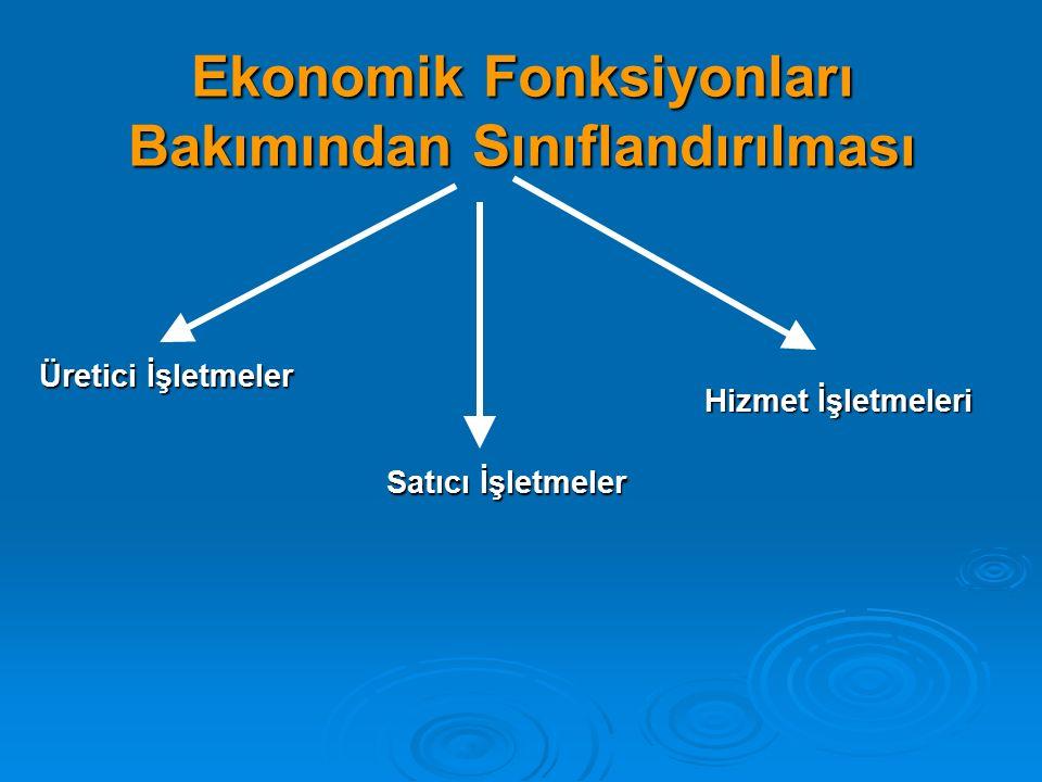 Ekonomik Fonksiyonları Bakımından Sınıflandırılması Üretici İşletmeler Satıcı İşletmeler Hizmet İşletmeleri