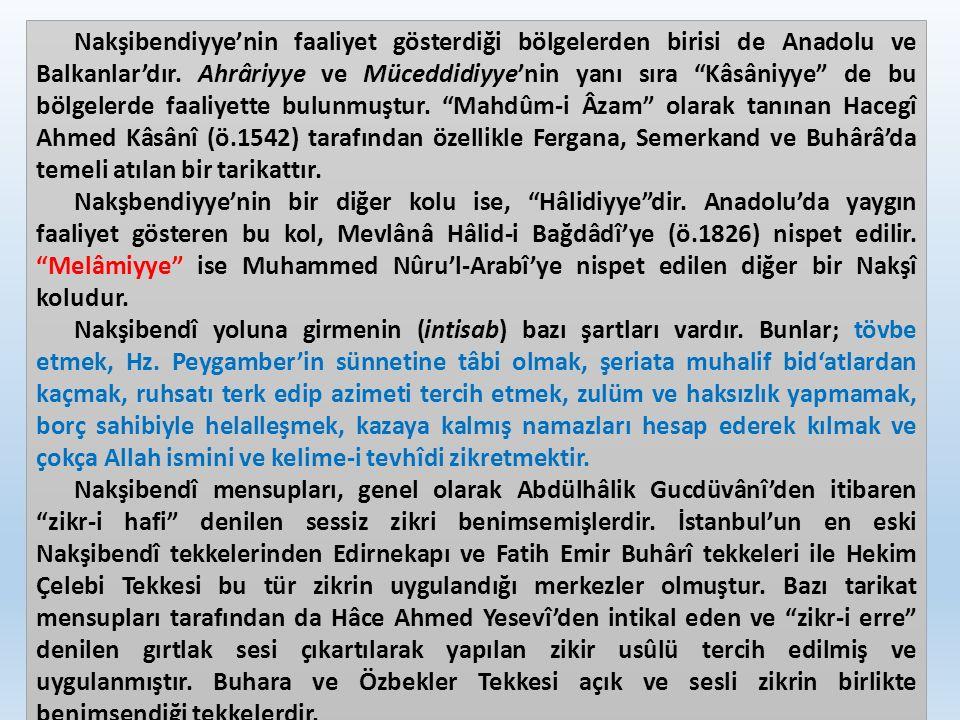 """Nakşibendiyye'nin faaliyet gösterdiği bölgelerden birisi de Anadolu ve Balkanlar'dır. Ahrâriyye ve Müceddidiyye'nin yanı sıra """"Kâsâniyye"""" de bu bölgel"""
