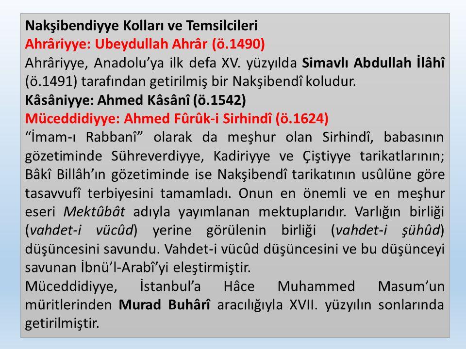 Nakşibendiyye Kolları ve Temsilcileri Ahrâriyye: Ubeydullah Ahrâr (ö.1490) Ahrâriyye, Anadolu'ya ilk defa XV. yüzyılda Simavlı Abdullah İlâhî (ö.1491)