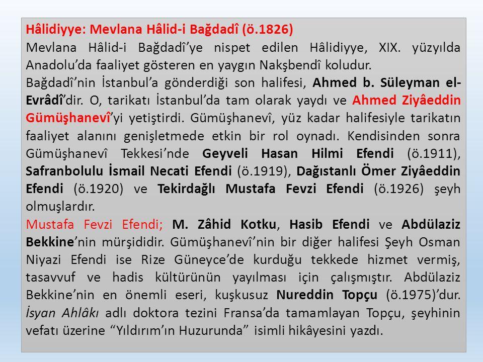 Hâlidiyye: Mevlana Hâlid-i Bağdadî (ö.1826) Mevlana Hâlid-i Bağdadî'ye nispet edilen Hâlidiyye, XIX. yüzyılda Anadolu'da faaliyet gösteren en yaygın N