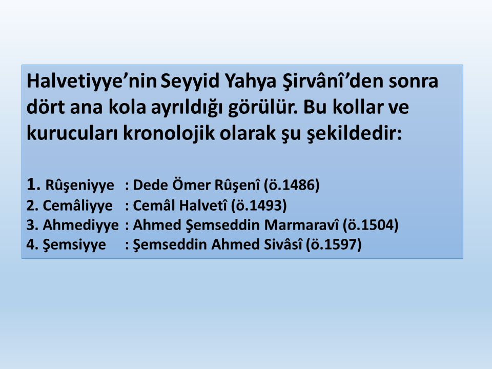Halvetiyye'nin Seyyid Yahya Şirvânî'den sonra dört ana kola ayrıldığı görülür. Bu kollar ve kurucuları kronolojik olarak şu şekildedir: 1. Rûşeniyye: