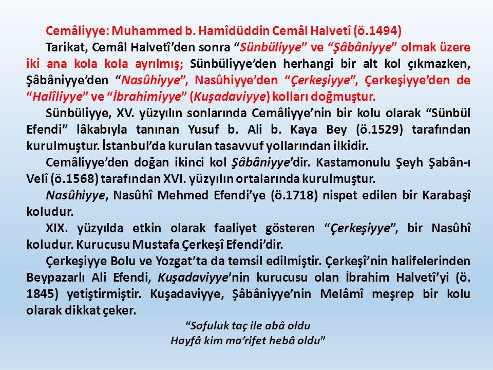 """Cemâliyye: Muhammed b. Hamîdüddin Cemâl Halvetî (ö.1494) Tarikat, Cemâl Halvetî'den sonra """"Sünbüliyye"""" ve """"Şâbâniyye"""" olmak üzere iki ana kola kola ay"""
