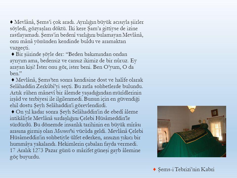 ♦ Mevlânâ, Şems'i çok aradı. Ayrılığın büyük acısıyla şiirler söyledi, gözyaşları döktü. İki kere Şam'a gittiyse de izine rastlayamadı. Şems'in bedenî