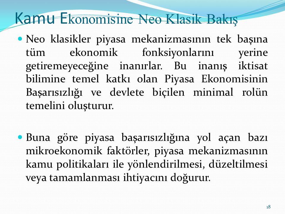 Kamu E konomisine Neo Klasik Bakış Neo klasikler piyasa mekanizmasının tek başına tüm ekonomik fonksiyonlarını yerine getiremeyeceğine inanırlar. Bu i