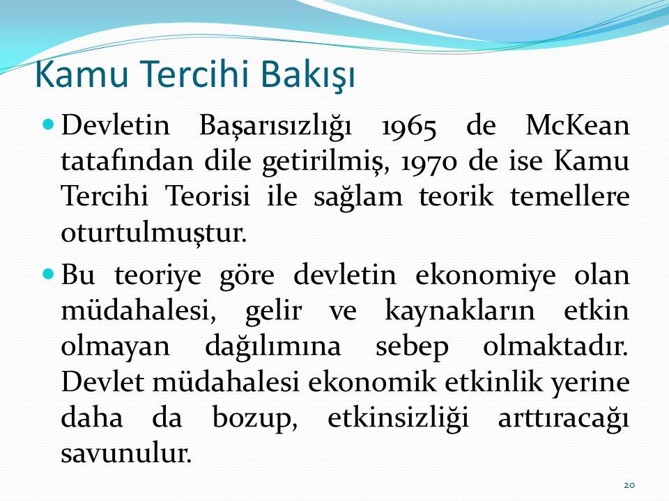 Kamu Tercihi Bakışı Devletin Başarısızlığı 1965 de McKean tatafından dile getirilmiş, 1970 de ise Kamu Tercihi Teorisi ile sağlam teorik temellere otu