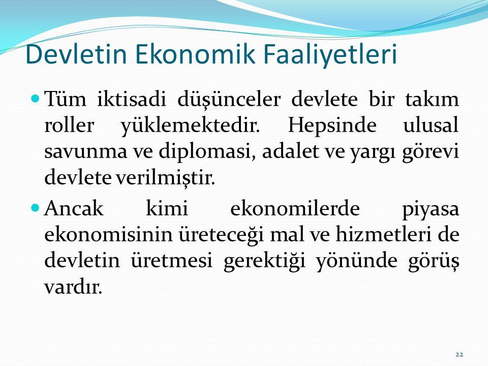 Devletin Ekonomik Faaliyetleri Tüm iktisadi düşünceler devlete bir takım roller yüklemektedir. Hepsinde ulusal savunma ve diplomasi, adalet ve yargı g