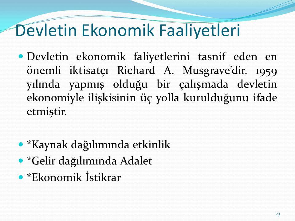Devletin Ekonomik Faaliyetleri Devletin ekonomik faliyetlerini tasnif eden en önemli iktisatçı Richard A. Musgrave'dir. 1959 yılında yapmış olduğu bir