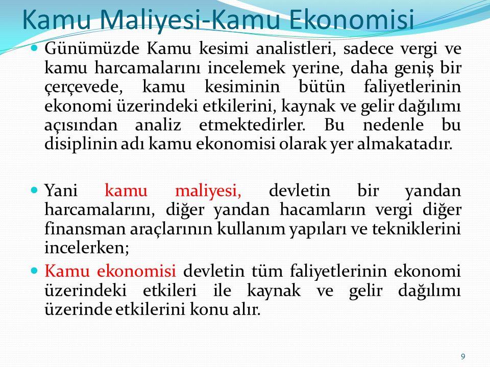 Kamu Maliyesi-Kamu Ekonomisi Günümüzde Kamu kesimi analistleri, sadece vergi ve kamu harcamalarını incelemek yerine, daha geniş bir çerçevede, kamu ke