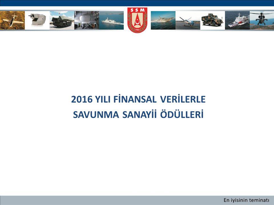 2016 YILI FİNANSAL VERİLERLE SAVUNMA SANAYİİ ÖDÜLLERİ