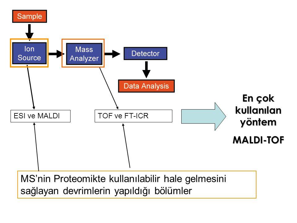 MS'nin Proteomikte kullanılabilir hale gelmesini sağlayan devrimlerin yapıldığı bölümler ESI ve MALDI TOF ve FT-ICR En çok kullanılan yöntem MALDI-TOF