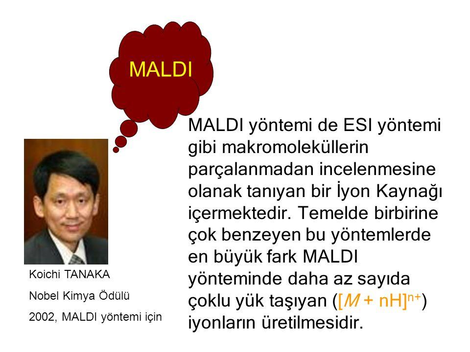 MALDI yöntemi de ESI yöntemi gibi makromoleküllerin parçalanmadan incelenmesine olanak tanıyan bir İyon Kaynağı içermektedir.