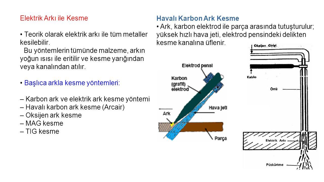 Elektrik Arkı ile Kesme Teorik olarak elektrik arkı ile tüm metaller kesilebilir.
