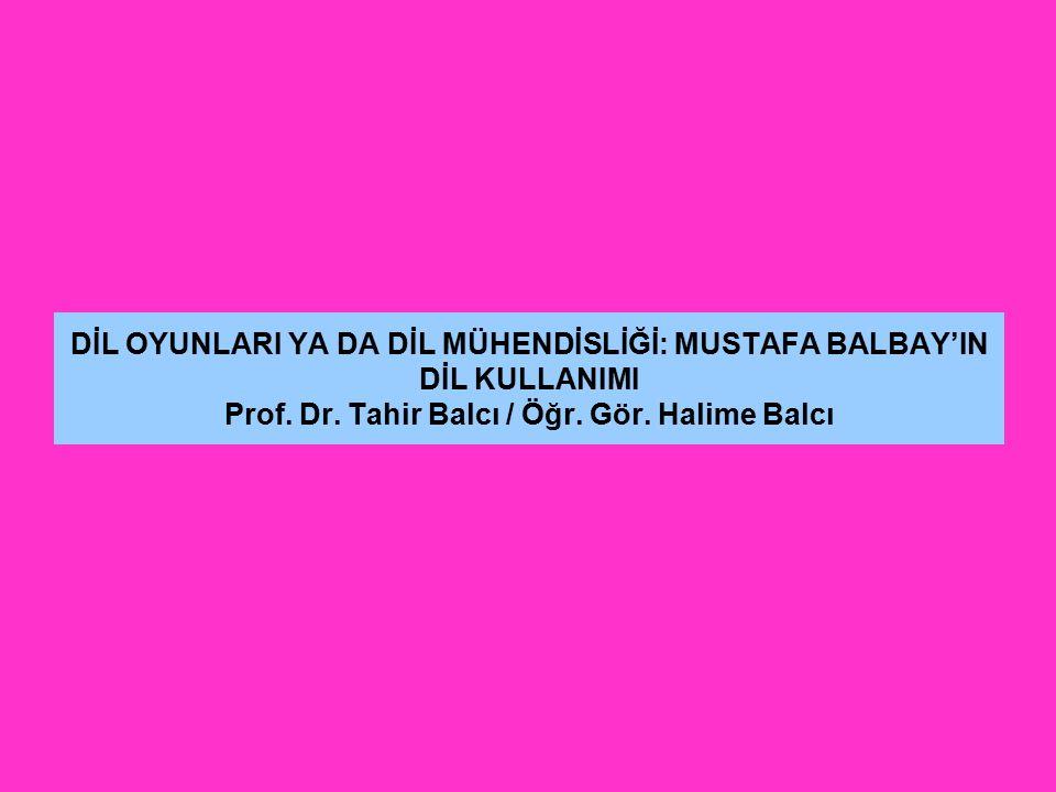 DİL OYUNLARI YA DA DİL MÜHENDİSLİĞİ: MUSTAFA BALBAY'IN DİL KULLANIMI Prof. Dr. Tahir Balcı / Öğr. Gör. Halime Balcı