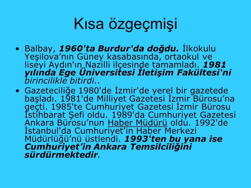 Kısa özgeçmişi Balbay, 1960'ta Burdur'da doğdu. İlkokulu Yeşilova'nın Güney kasabasında, ortaokul ve liseyi Aydın'ın Nazilli ilçesinde tamamladı. 1981
