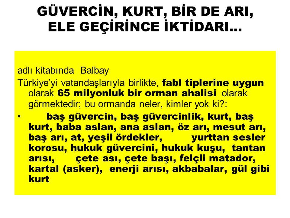 GÜVERCİN, KURT, BİR DE ARI, ELE GEÇİRİNCE İKTİDARI… adlı kitabında Balbay Türkiye'yi vatandaşlarıyla birlikte, fabl tiplerine uygun olarak 65 milyonlu