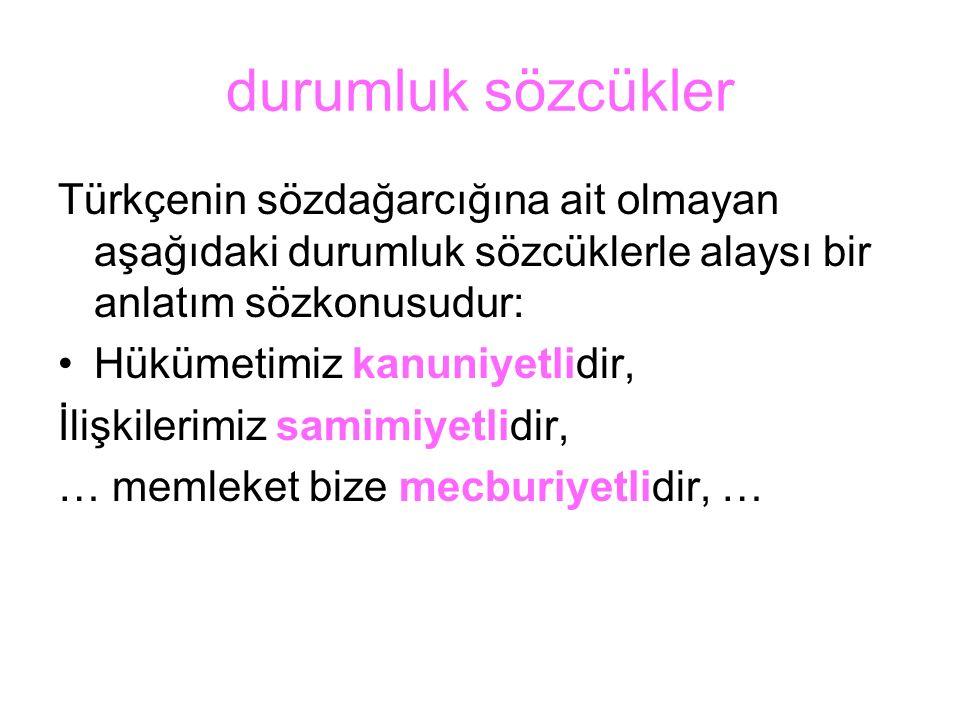 durumluk sözcükler Türkçenin sözdağarcığına ait olmayan aşağıdaki durumluk sözcüklerle alaysı bir anlatım sözkonusudur: Hükümetimiz kanuniyetlidir, İl