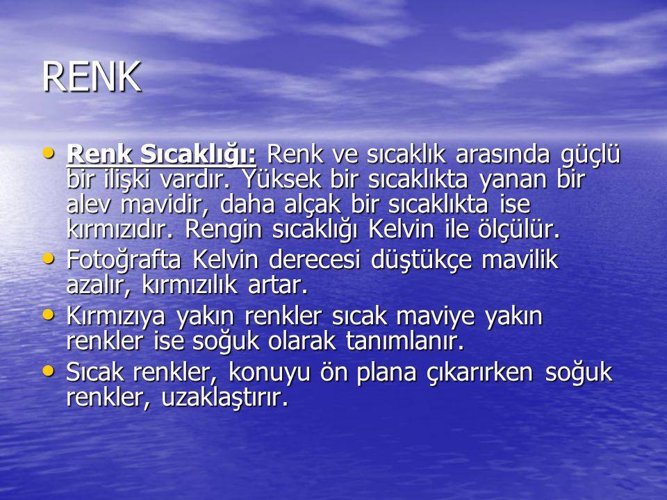 RENK Renk Sıcaklığı: Renk ve sıcaklık arasında güçlü bir ilişki vardır.