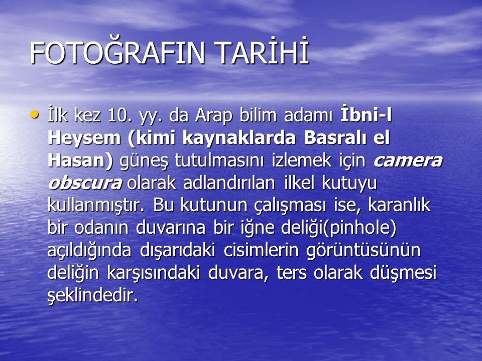 FOTOĞRAFIN TARİHİ İlk kez 10. yy.