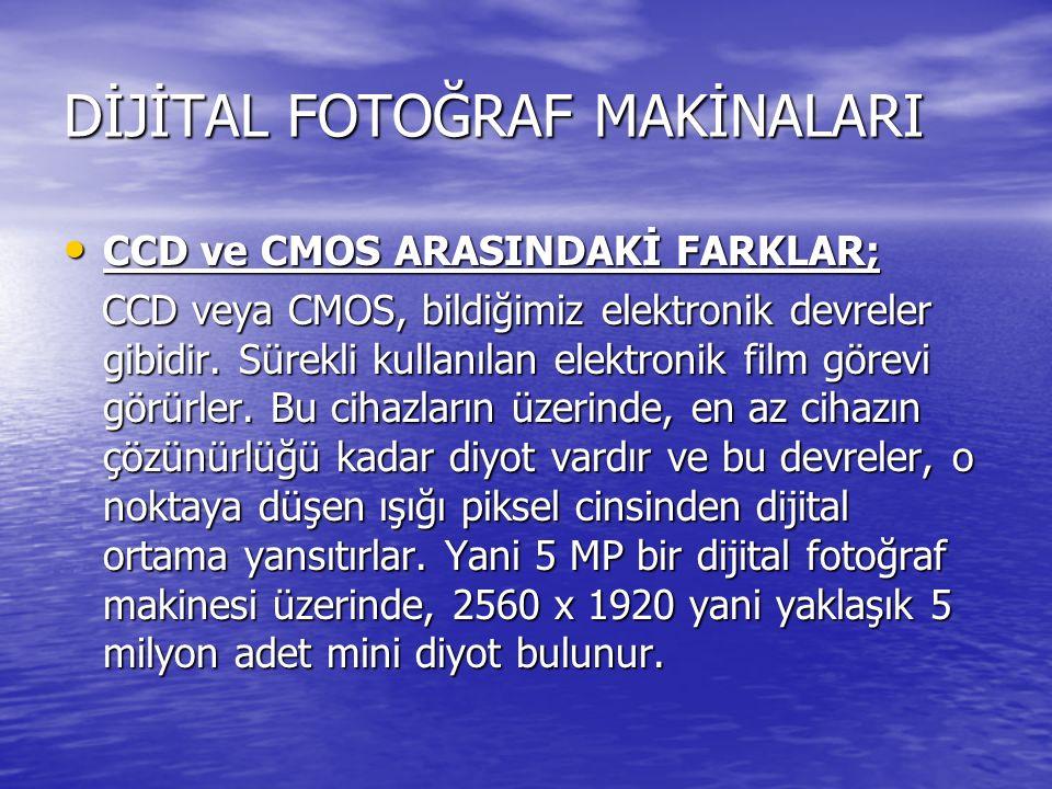 DİJİTAL FOTOĞRAF MAKİNALARI CCD ve CMOS ARASINDAKİ FARKLAR; CCD ve CMOS ARASINDAKİ FARKLAR; CCD veya CMOS, bildiğimiz elektronik devreler gibidir. Sür