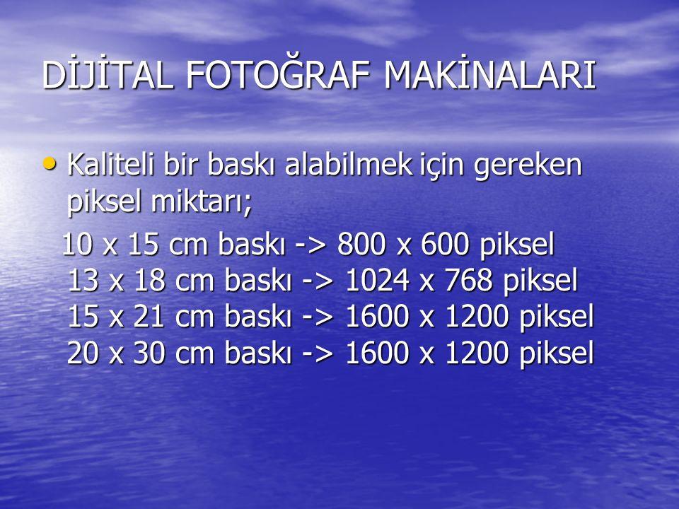 DİJİTAL FOTOĞRAF MAKİNALARI Kaliteli bir baskı alabilmek için gereken piksel miktarı; Kaliteli bir baskı alabilmek için gereken piksel miktarı; 10 x 15 cm baskı -> 800 x 600 piksel 13 x 18 cm baskı -> 1024 x 768 piksel 15 x 21 cm baskı -> 1600 x 1200 piksel 20 x 30 cm baskı -> 1600 x 1200 piksel 10 x 15 cm baskı -> 800 x 600 piksel 13 x 18 cm baskı -> 1024 x 768 piksel 15 x 21 cm baskı -> 1600 x 1200 piksel 20 x 30 cm baskı -> 1600 x 1200 piksel