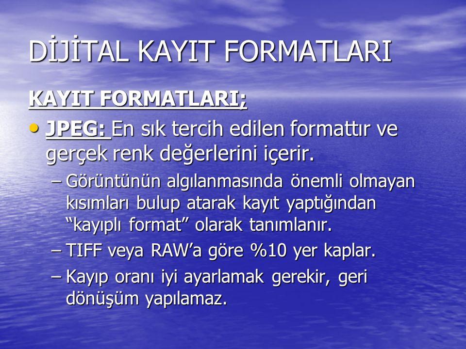DİJİTAL KAYIT FORMATLARI KAYIT FORMATLARI; JPEG: En sık tercih edilen formattır ve gerçek renk değerlerini içerir. JPEG: En sık tercih edilen formattı