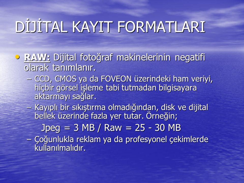 DİJİTAL KAYIT FORMATLARI RAW: Dijital fotoğraf makinelerinin negatifi olarak tanımlanır. RAW: Dijital fotoğraf makinelerinin negatifi olarak tanımlanı