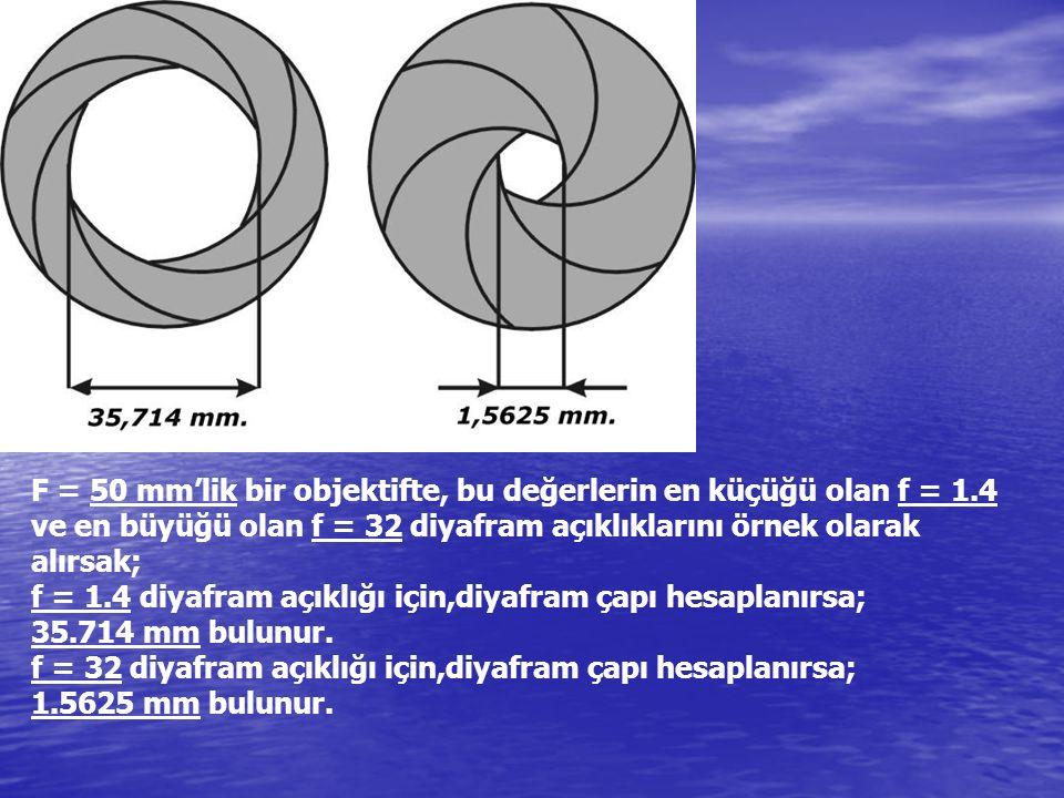F = 50 mm'lik bir objektifte, bu değerlerin en küçüğü olan f = 1.4 ve en büyüğü olan f = 32 diyafram açıklıklarını örnek olarak alırsak; f = 1.4 diyaf